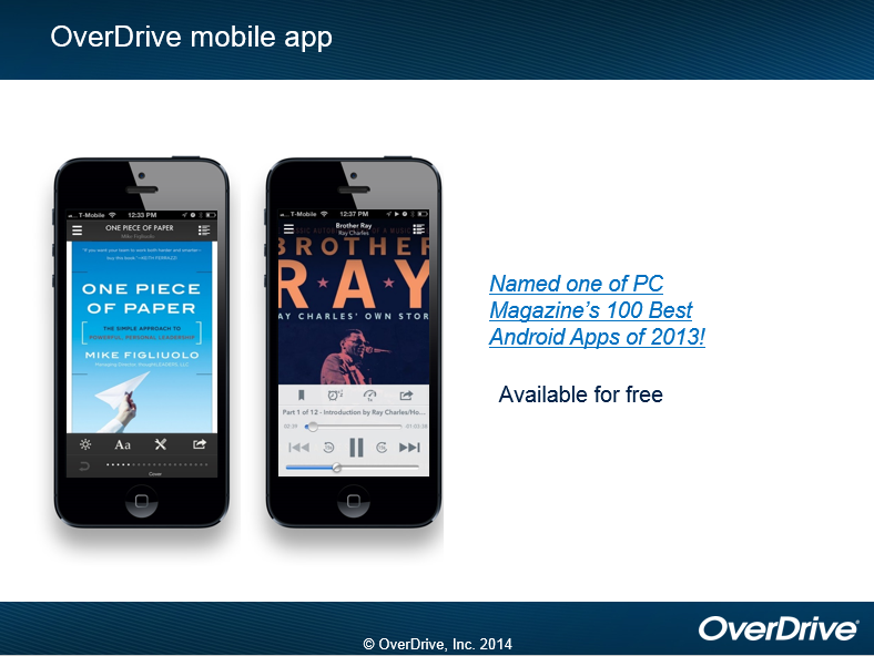 OverDrive mobile app Named one of PC Magazine's 100 Best Android Apps of 2013!  Available for free. (OverDrive, Inc. 2014)