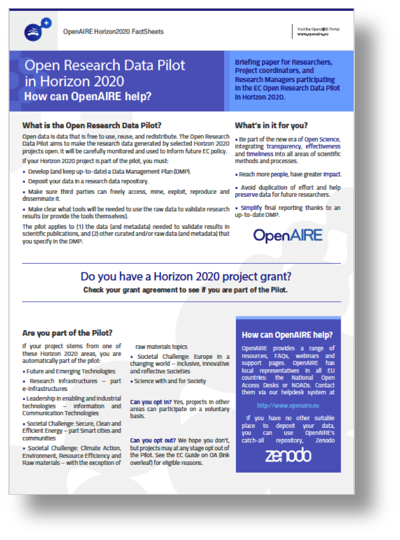 OpenAIRE Open Research Data Pilot Factsheet