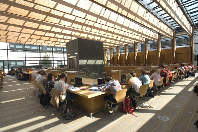 Students Studying on the top floor of the Health Sciences Library. The cealing is made of wood and glass and is a very bright area