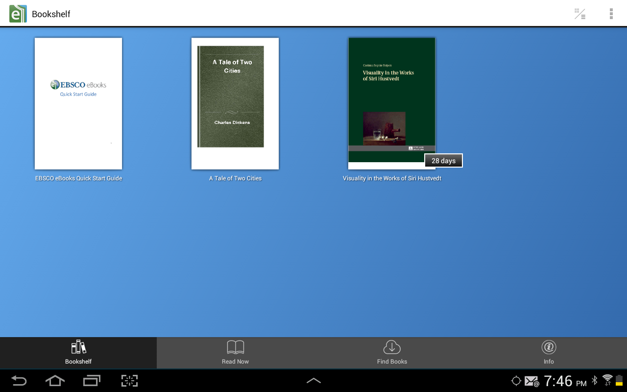 Android screen shot: Ebsco eBooks bookshelf