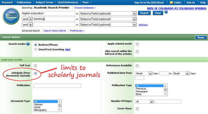 screenshot of checking the Scholarly (Peer Reviewed) Journals box on the database Academic Search Premier's homepage