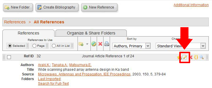 screen shot of a list of references in RefWorks. The edit icon is above the informaiton about each article.