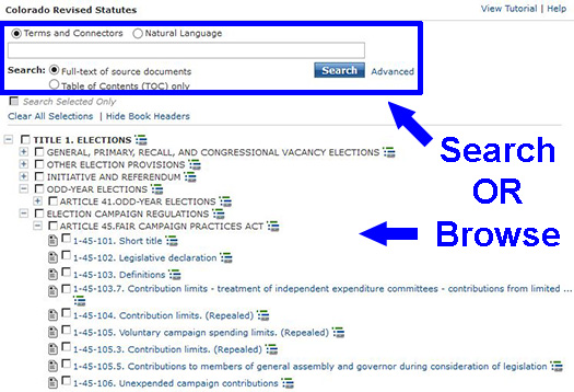 Screenshot of the Colorado Revised Statutes search options. The table of contents is on the lower half of the page.