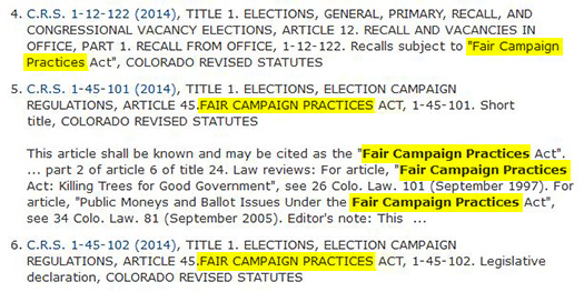 "Picture of results of a search for ""fair campaign practices""."