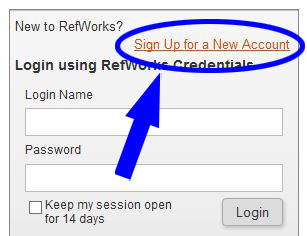 screenshot of the RefWorks log in screen. the link to sign up for a new account is above the log in area.