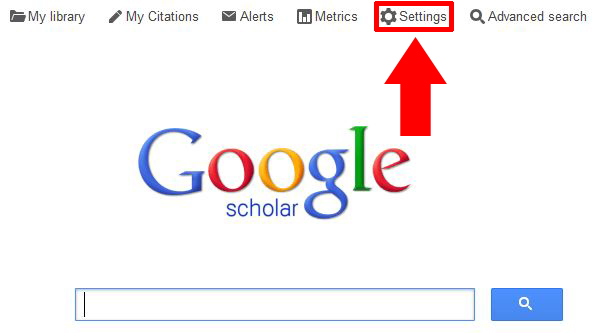 Screenshot of the Google Scholar homepage. The settings link is in the top menu.
