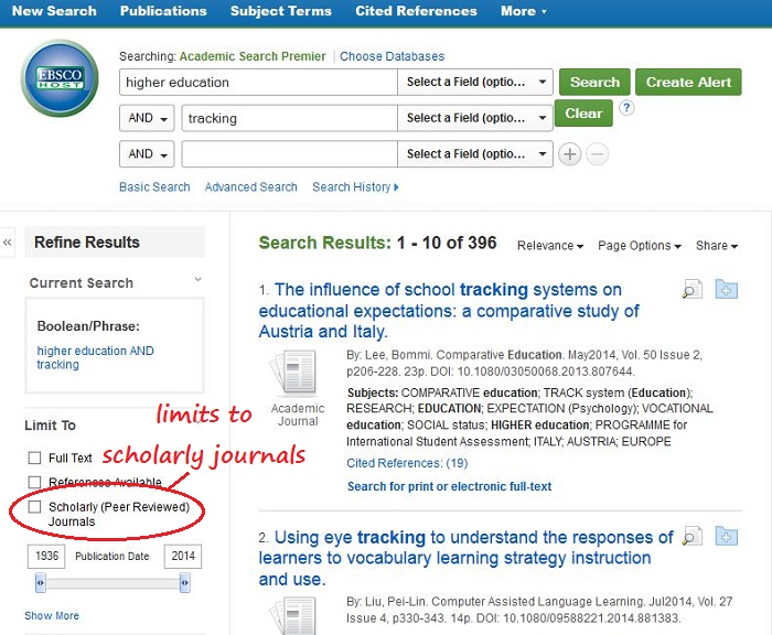 screenshot of the Scholarly (Peer Reviewed) Journals checkbox on the left hand side of a list of search results in the database Academic Search Premier