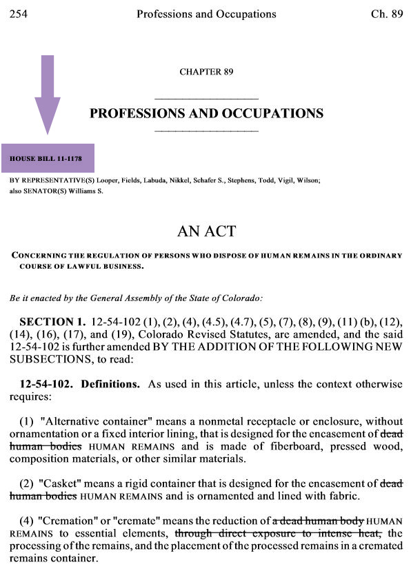screenshot of a session law. the bill number is after the chapter title and above the names of the bill's sponsors.