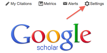 Google Scholar screenshot showing the location of the Settings link