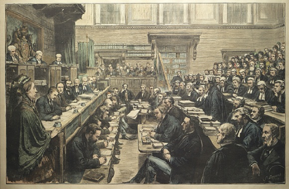 """The Trial of the Tichborne Claimant – General View of the Court during the Examination of Miss Mary Ann Loder,"" published by Harper's Weekly, July 12, 1873."