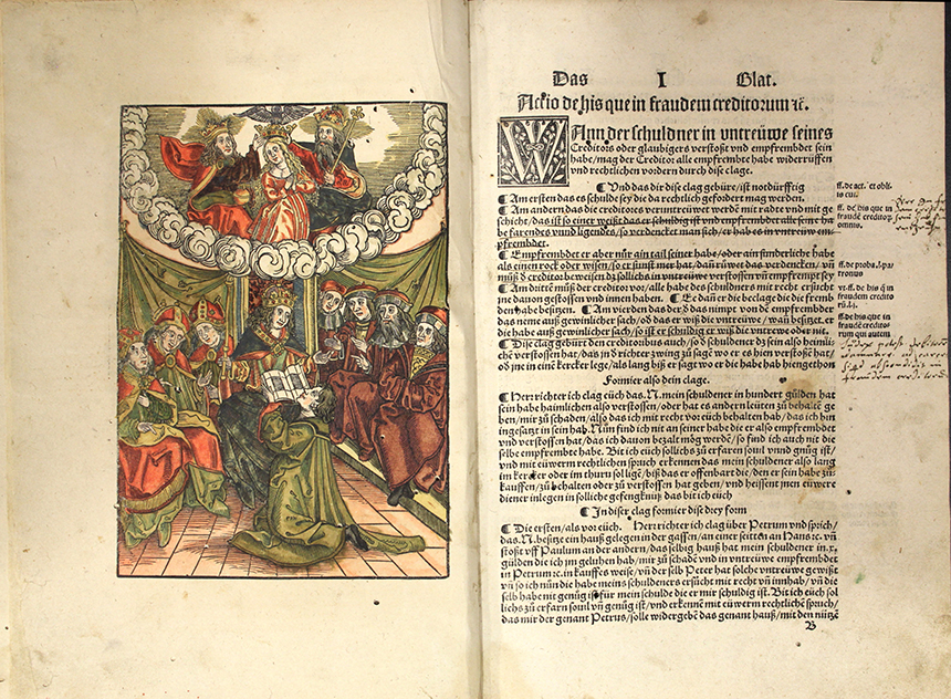 Opening to beginning of Clagspiegel with hand-colored woodcut