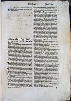 White page of Latin text in two columns with a large blank space in the upper left of the first column.