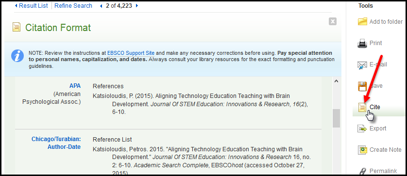 Citation tool in Academic Search Complete