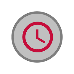 circular icon depicting clock