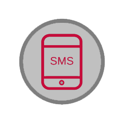 circular icon depicting a cellphone with the letters SMS on the screen
