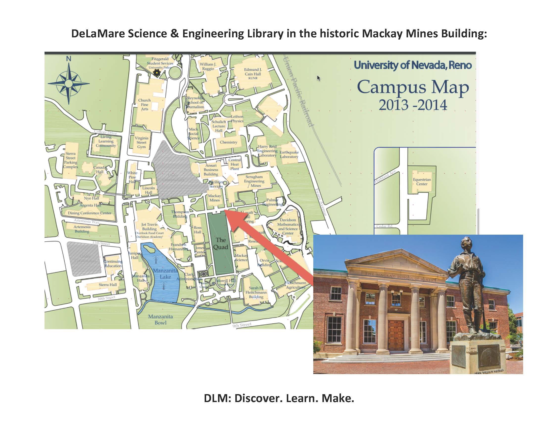 Image pointing out DeLaMare Library on the UNR Campus Map