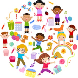 Cartoon image of playing children surrounded by toys