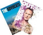"covers of ""The Advocate"" and ""Out"""