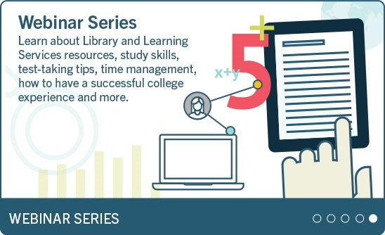 Library and Learning Services webinar series image and link