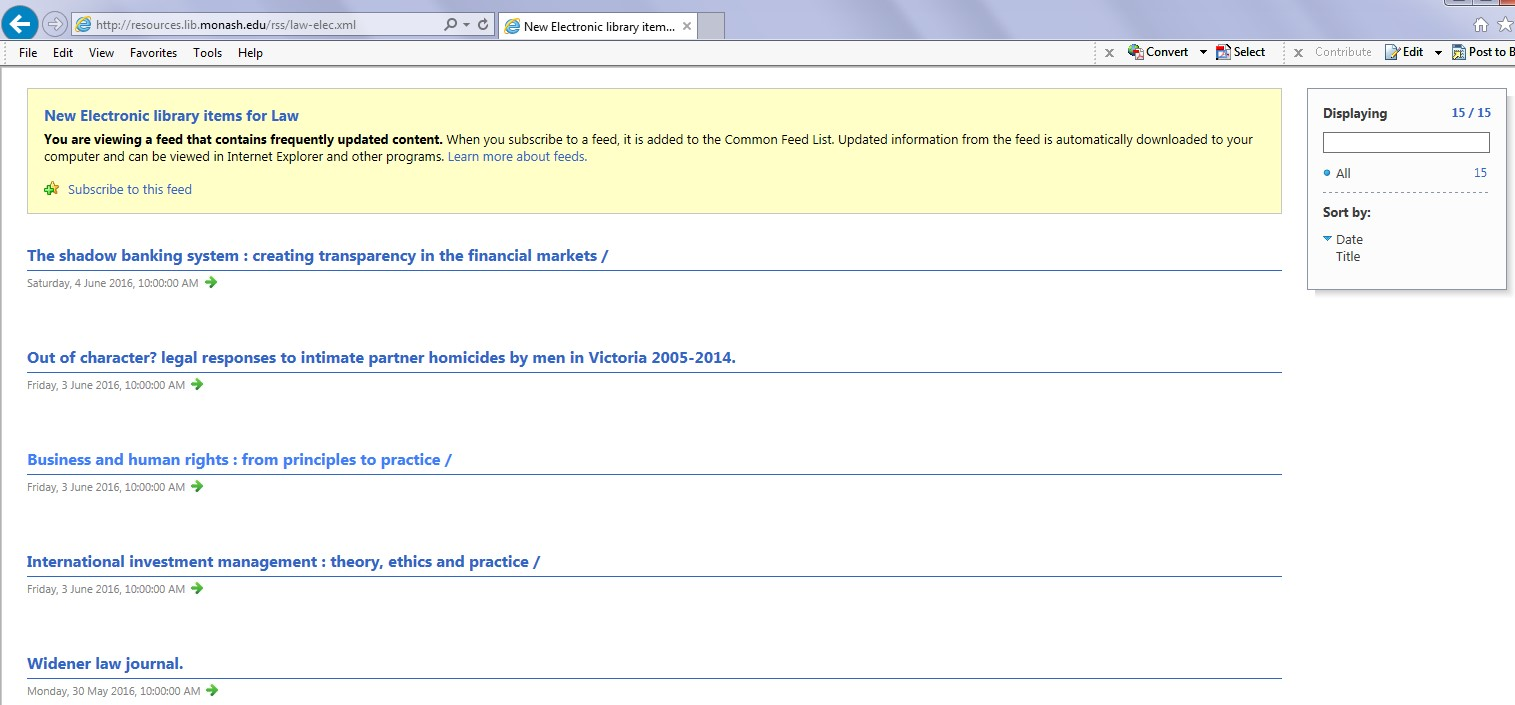 IE RSS feed display screen with subscription options at the top of the page