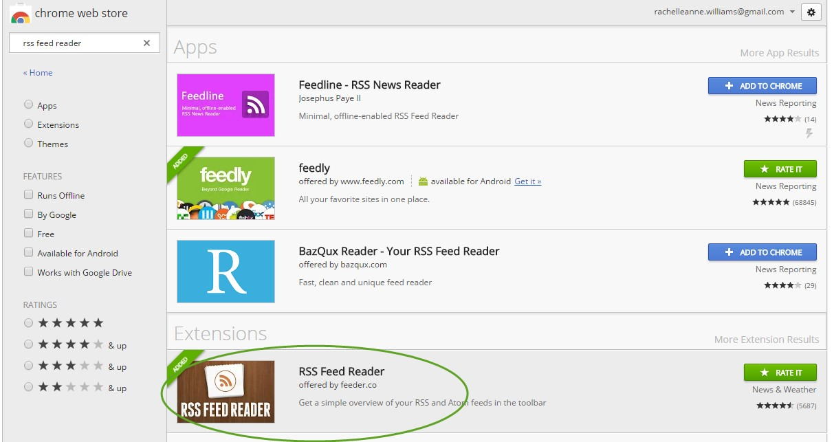 Chrome web store displaying search results of 'RSS feed reader'