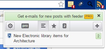 RSS feeder icon displaying in the Chrome browser tool bar