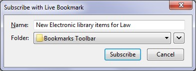 Live Bookmark subscribe confirmation dialogue box