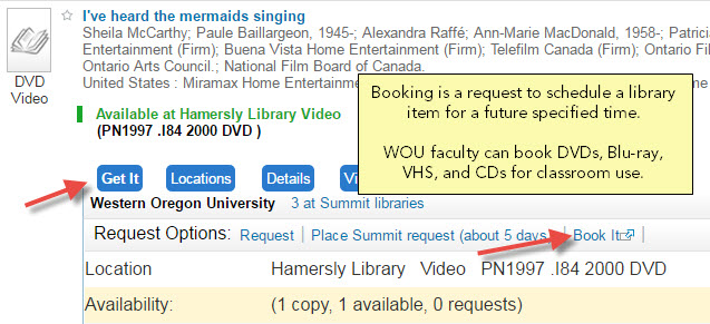 Booking is a request to schedule a library item for a future specified time. WOU faculty can book DVDs, Blu-ray, VHS, and CDs for classroom use.