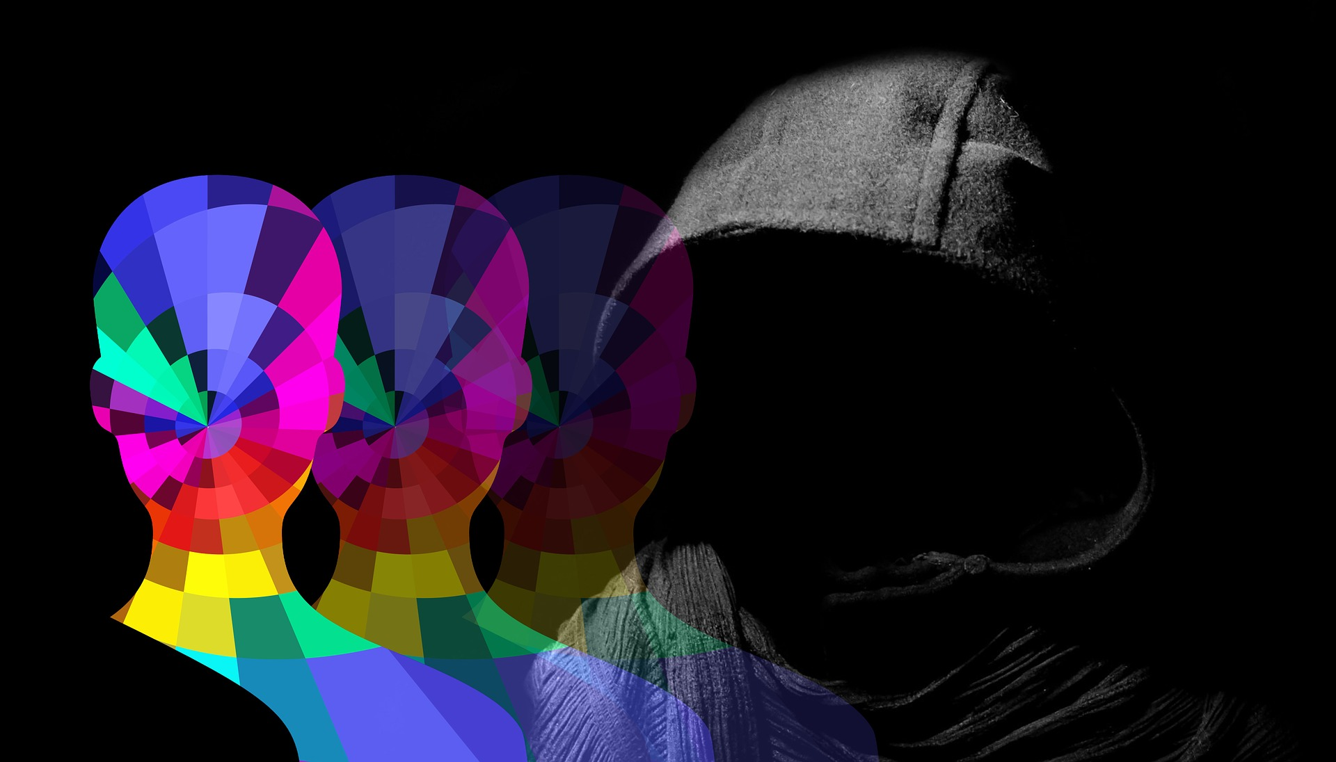 Hooded head with silhouettes