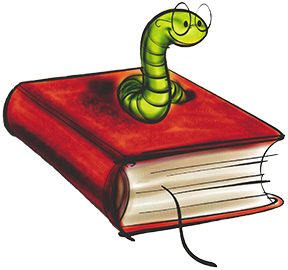Worm sitting on a Book illustration