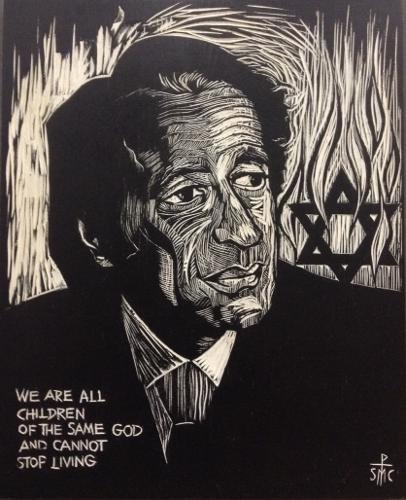 Woodblock print of Elie Wiesel by Sr. Mary Charles, OSB