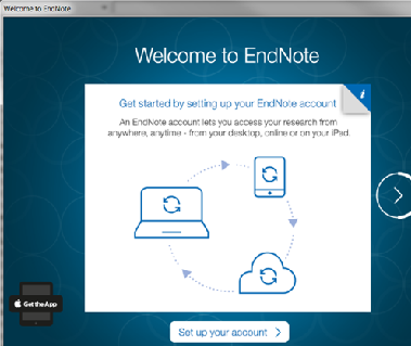 EndNote Welcome screen
