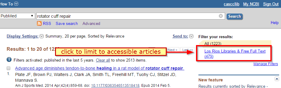 Results screen. Click to limit to accessible articles: Los Rios Libraries & Free Full Text