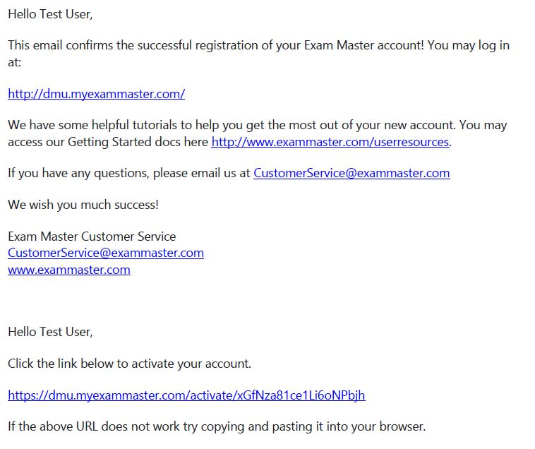 Exam Master Sample Email
