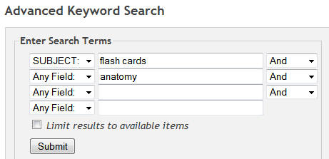 key word search in the library catalog