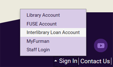 ILL Login on Library Homepage