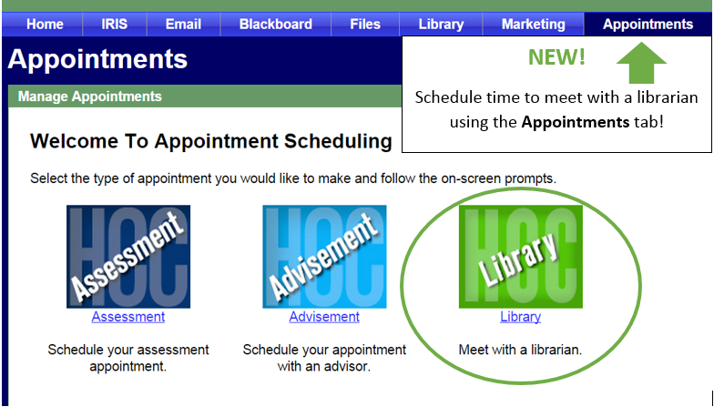 Use the Appointments tab in myHeartland to schedule a research appointment with a librarian.