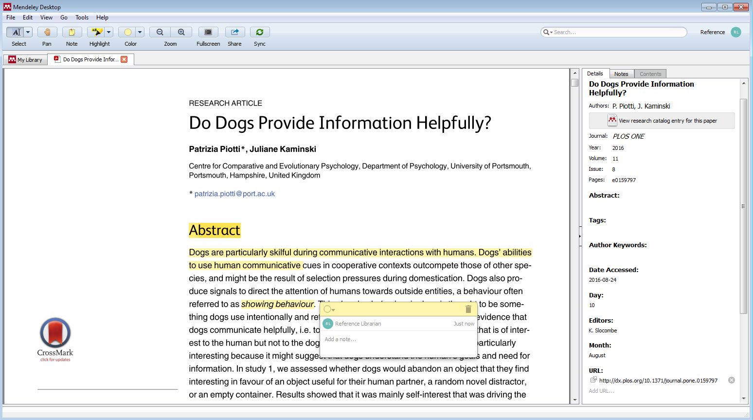 Desktop PDF reader, with highlights and note