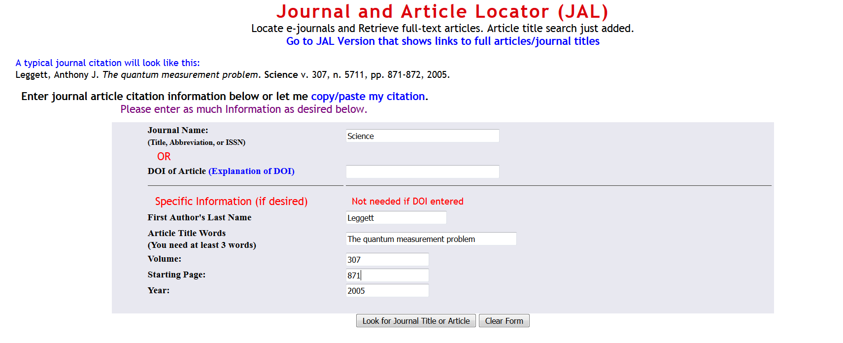 journal and article locator