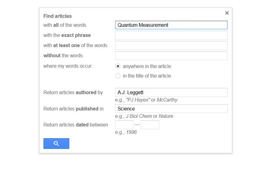 This image is a screenshot of the Google Scholar advanced search.