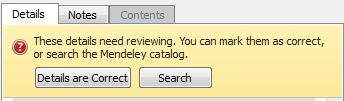 Mendeley Needs Review options