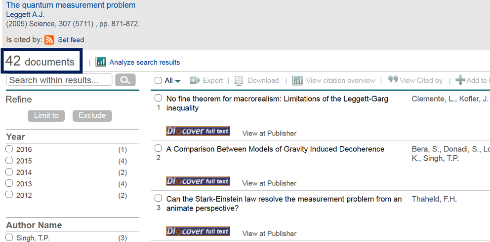 This image is a screenshot of the search results from the cited reference search in Scopus.ts