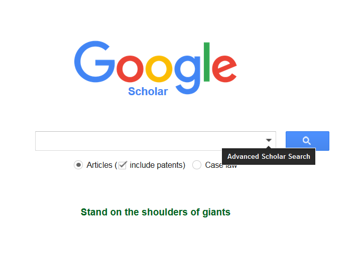 This image is a screenshot of the Google Scholar homepage.