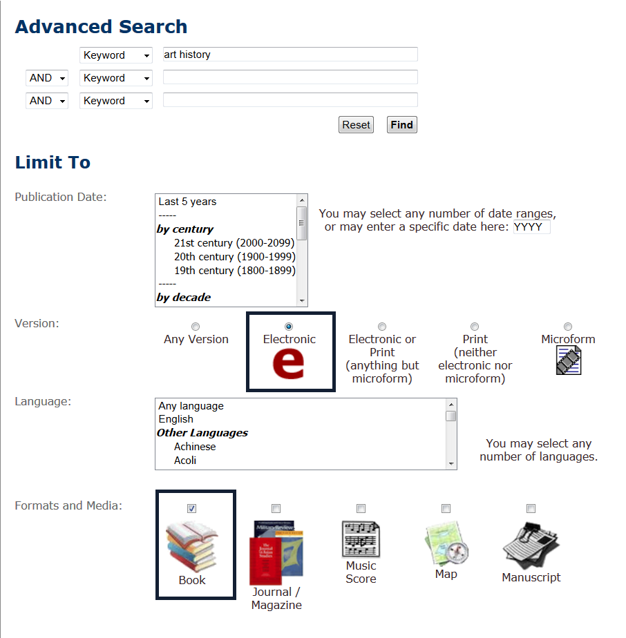Library Catalog Advanced e-book search