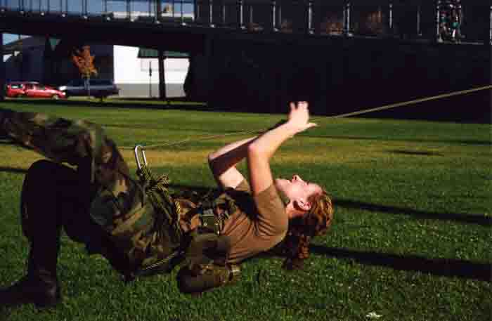 ROTC Cadet on Rope Bridge, 2003