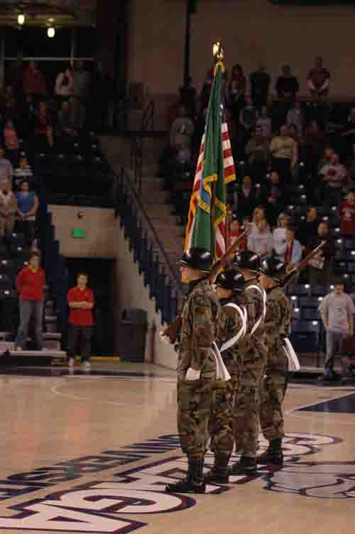 ROTC Color Guard before Gonzaga's Men's Basketball game, Dec. 2005