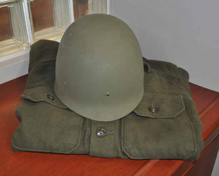 Olive Drab Wool Field Shirt with Helmet Liner, c. late 1950s through early 1970s