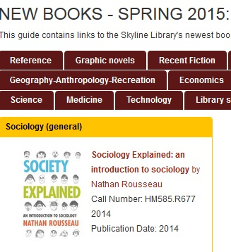 "Snapshot of ""New Books - Spring 2015"" guide"