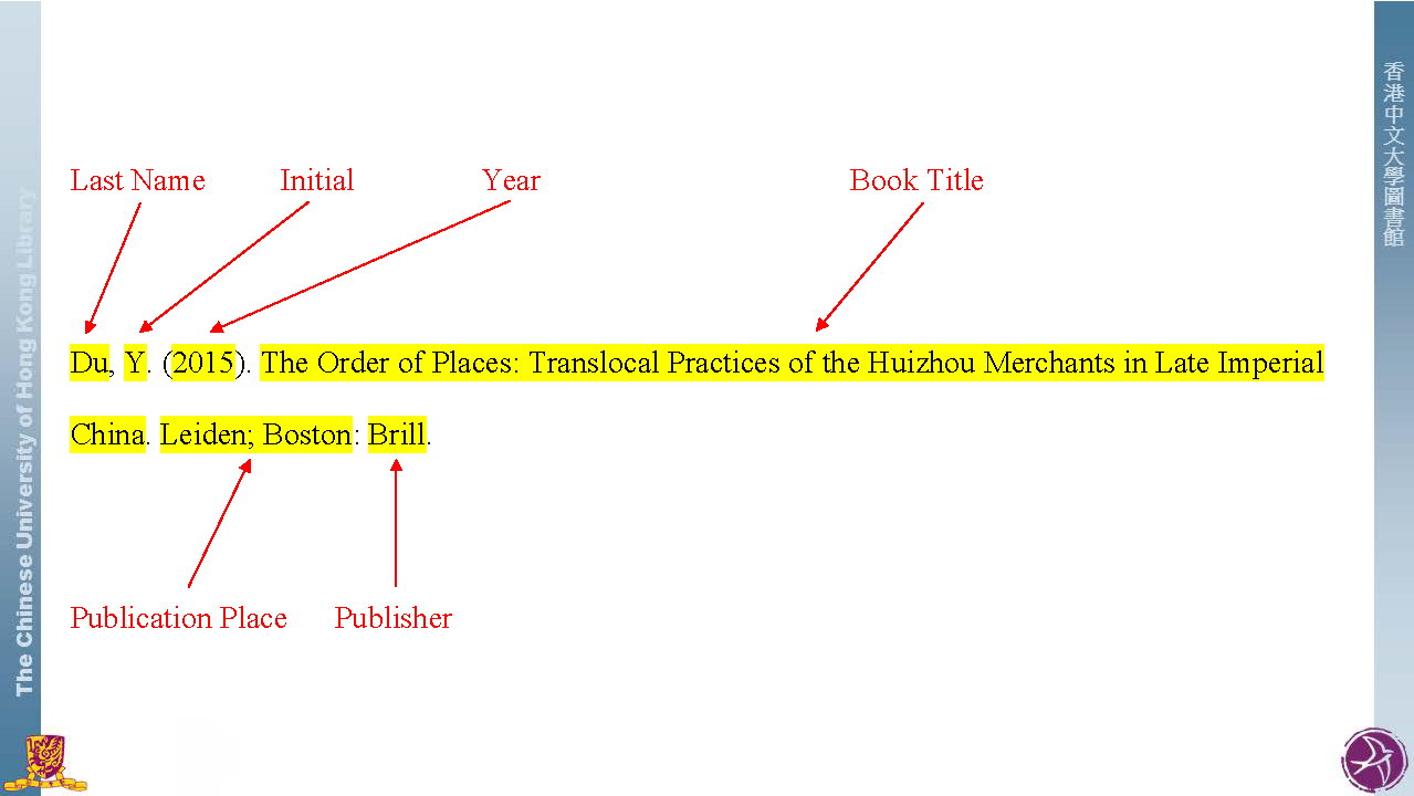 Apa style citation styles libguides at the chinese university apa book ccuart Images