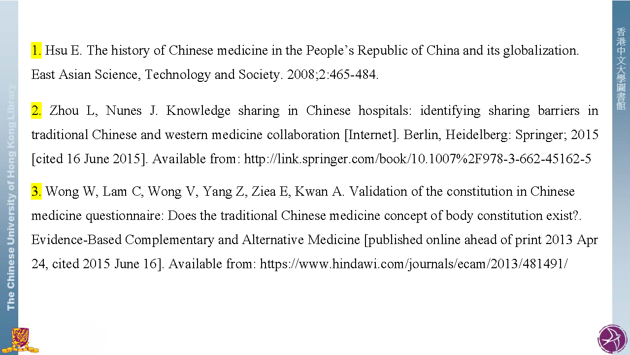 Vancouver style citation styles libguides at the chinese reference list numerical references in the text linked to the full citations in footnotes ccuart